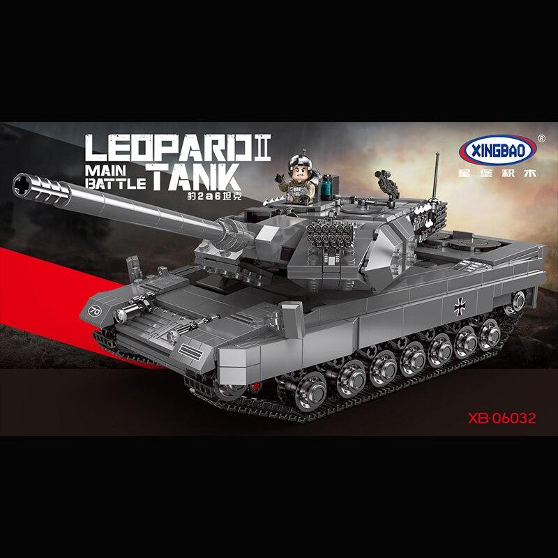 XINGBAO 1426 шт. леопард 2 Основной боевой танк модель строительные блоки Совместимые военные WW2 армейский солдат Бикс Игрушки для мальчиков