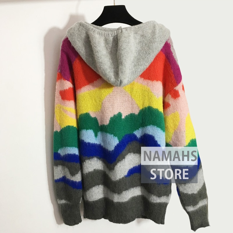 high end fashion sweater rainbow colorblock striped woman sweaters knitted wool hoodie jumpers long sleeve beading pullover S-L enlarge