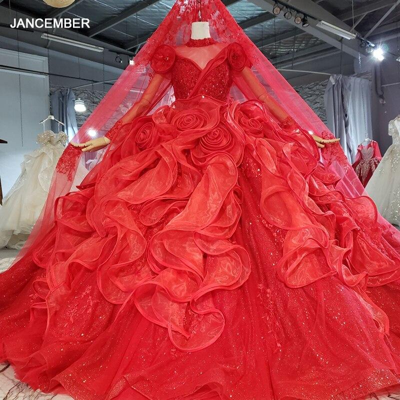 HTL2254-vestido largo de lujo para mujer, vestido de noche de manga larga, con cristales, color rojo, 2021