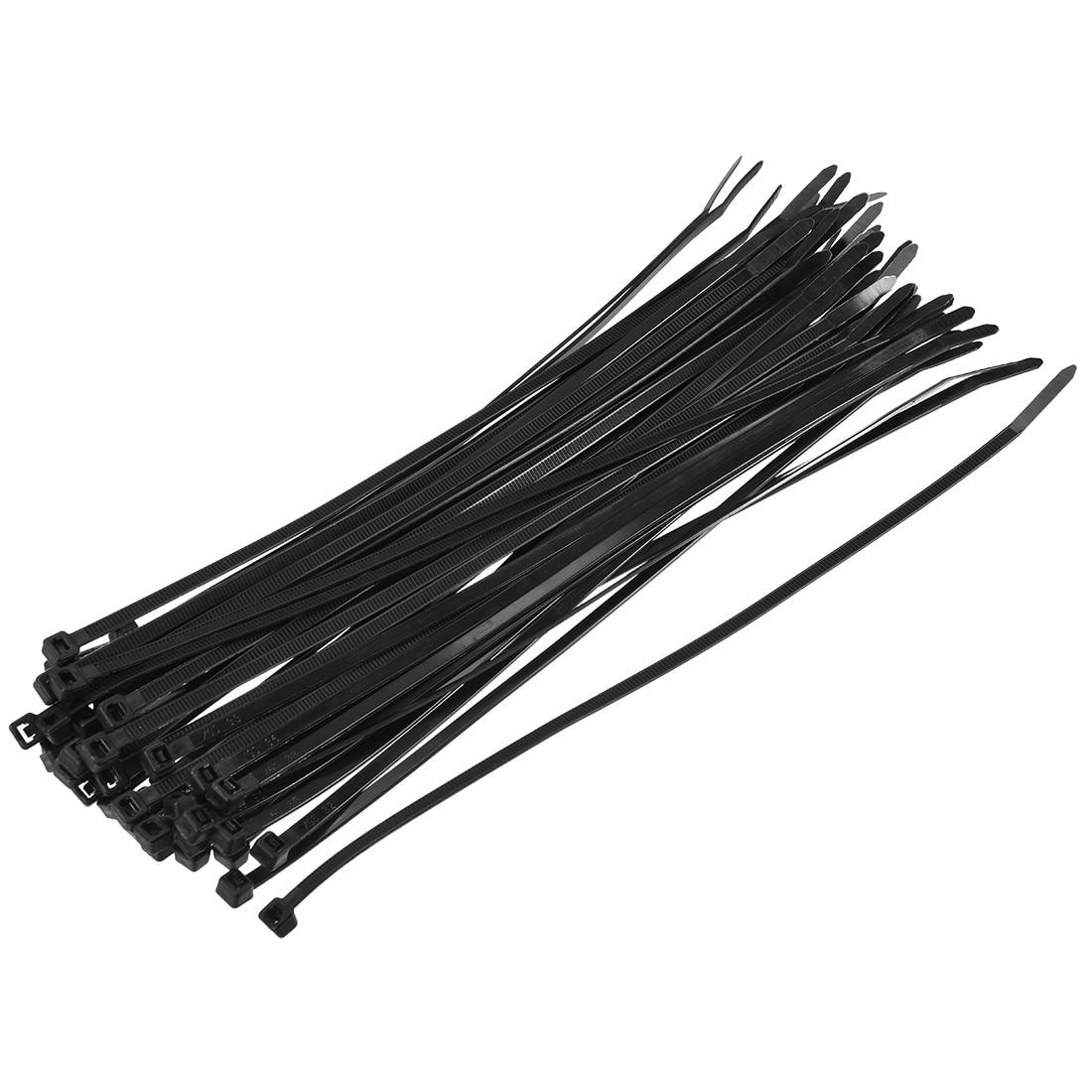 Uxcell-attaches de câble en Nylon   Attaches à fermeture éclair auto-verrouillantes largeur 0.14 pouces, noires 150 pièces