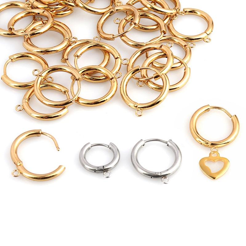dawnjoe high quality 316l stainless steel v shaped earrings hook popular ear hooks diy making drop earrings jewelry finding 5pcs/Lot Stainless Steel Gold Hoops Earrings Ear Hook Earring Hooks French Earrings For DIY Jewelry Making Supplies HXD