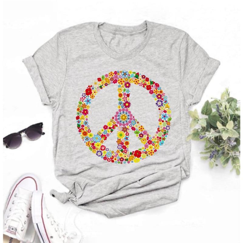 Los Mayos Camiseta De Amor De La Paz Para Mujer Top Informal...