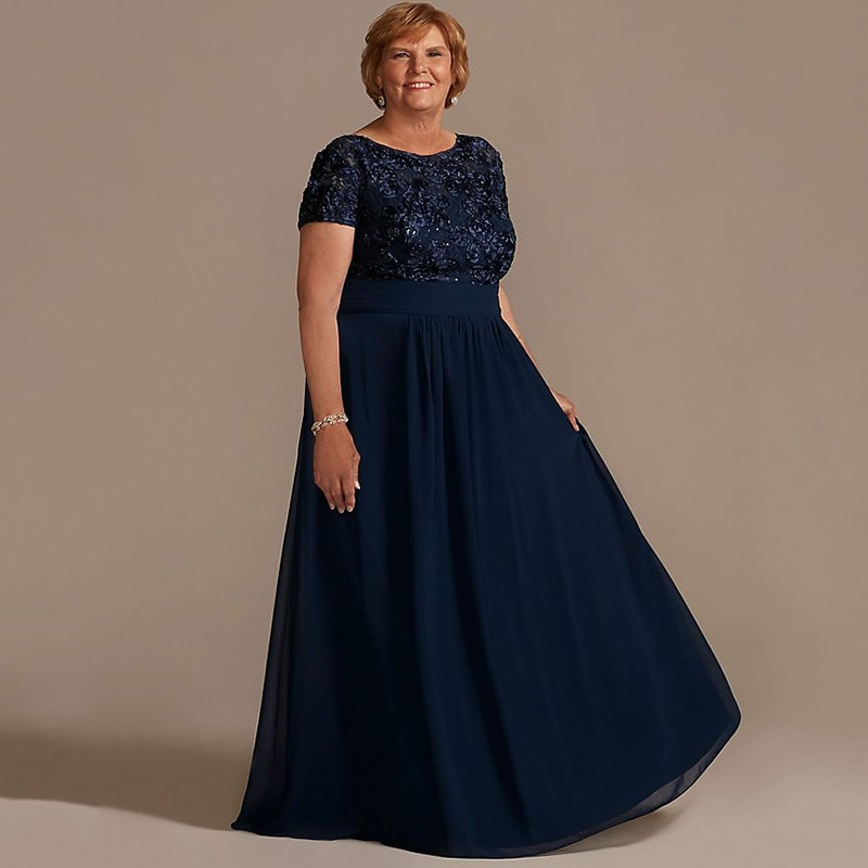 New Plus Size Navy Blue Mother of the Bride Dress Short Sleeves Floral Lace A-line Scoop Neck Chifff