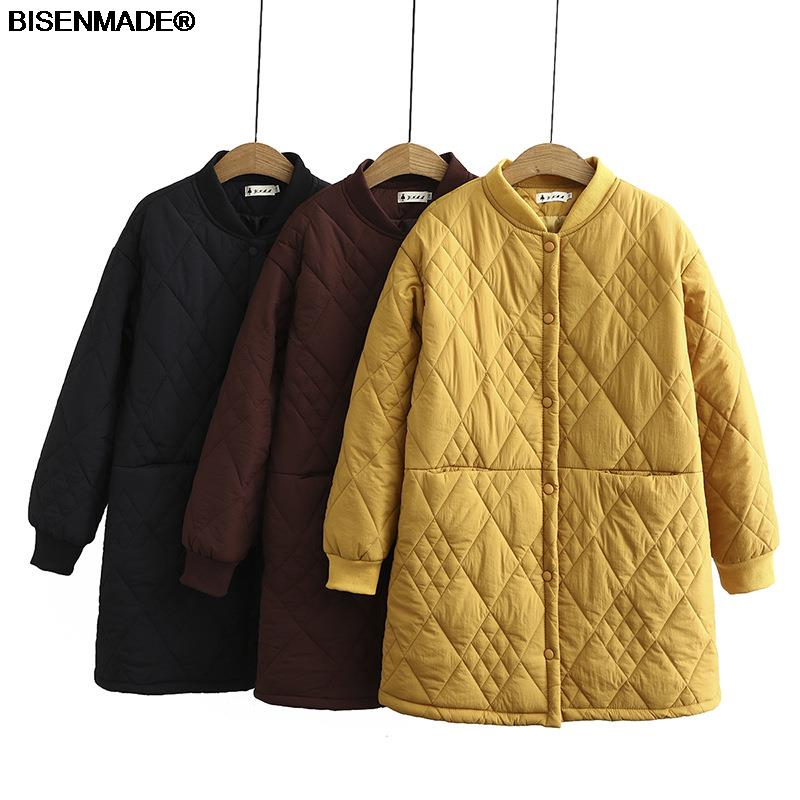 Winter Parka Women Clothes Plus Size&Curve 2021 New Padded Coat Solid Color Full Sleeve Single Breasted Thick Long Outerwear