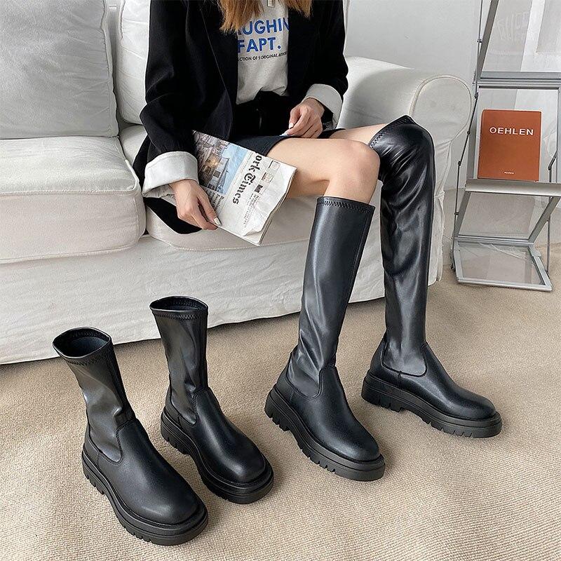 النساء حذاء من الجلد أحذية السيدات الانزلاق على منتصف العجل الأحذية منصة لينة بولي PU الجلود طويلة التمهيد الأحذية امرأة موضة الخريف الشتاء