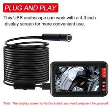 Caméra Endoscope industriel pour linspection, 8 pièces avec led intégrées, objectif 8mm, étanche IP67, Endoscope USB, fil souple et rigide