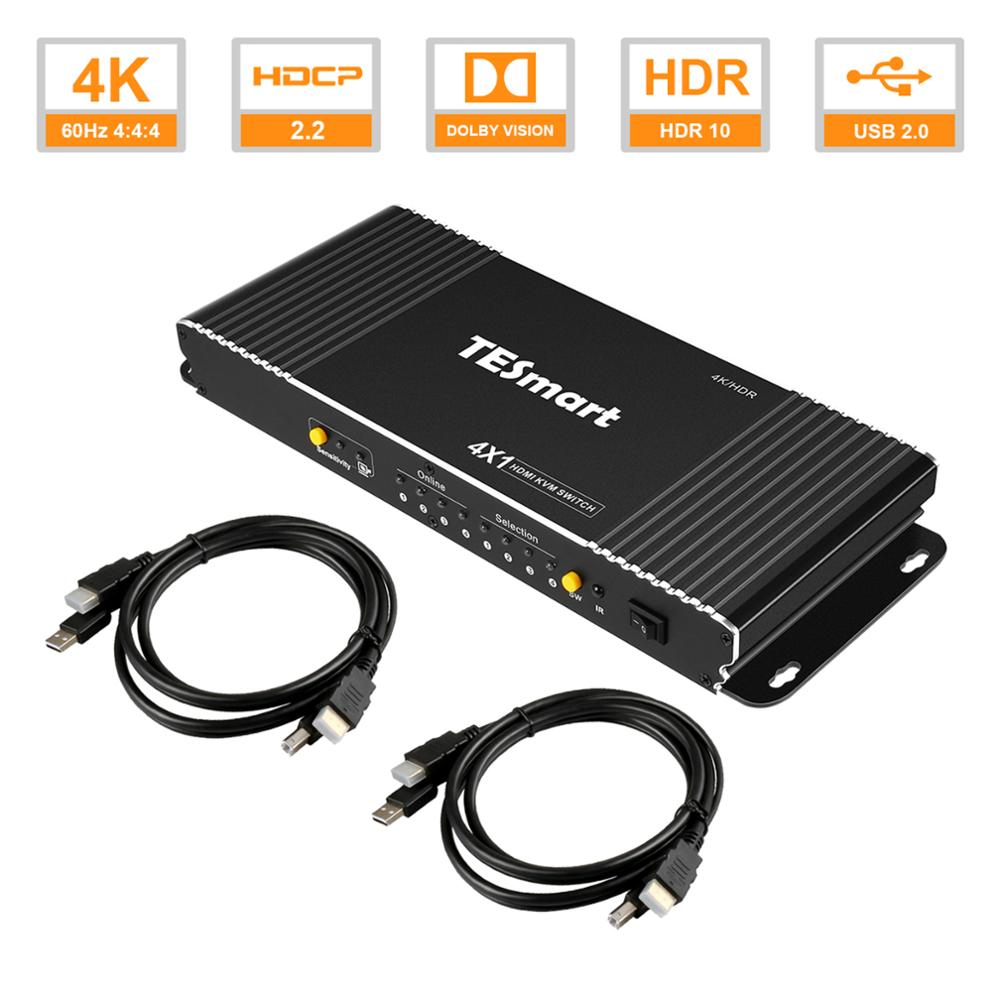 TESmart  4 Port USB KVM HDMI Switch with Extra USB 2.0 Port Support 4K*2K (3840x2160) with 2 Pcs 5ft HDMI KVM Cables