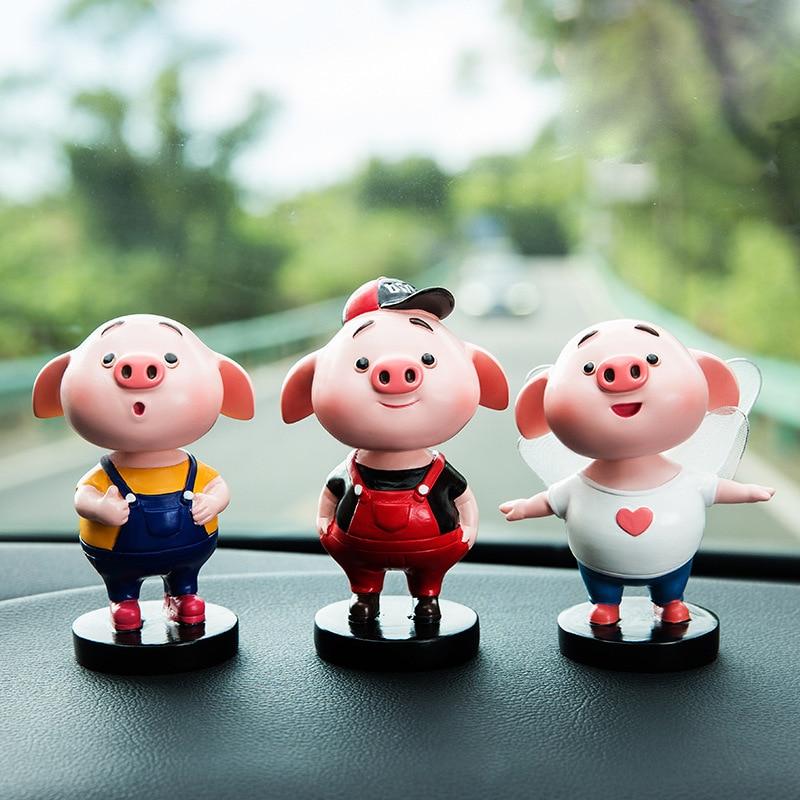 Car Toy Shaking Head Car Dashboard Decoration Shaking Head Cool Pig Design Car Ornaments Car Accessories Voiture Ornament
