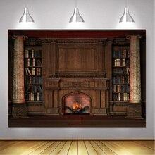 Камин деревянный фон книжная полка для фотостудии библиотеки дворца фон для фотосъемки Рождество фотосессия