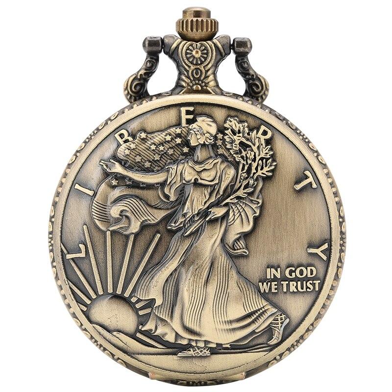 Estatua de conmemoración de la libertad moneda 1 oz plata fina un dólar colección de monedas Estados Unidos de América reloj de bolsillo de cuarzo