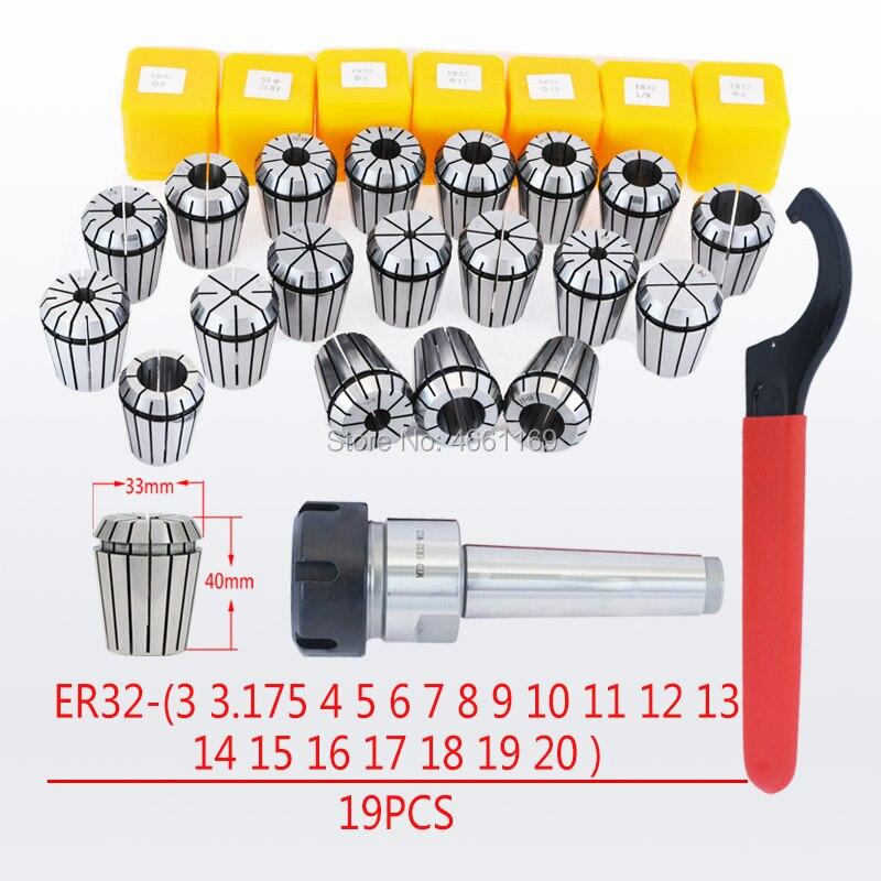 MT2 ER32 M10 MT3 ER32 M12 MT4 ER32 M16 mango cónico Morse herramienta titular ER32 chuck COLLET 19 piezas llave 1 piezas para fresadora CNC