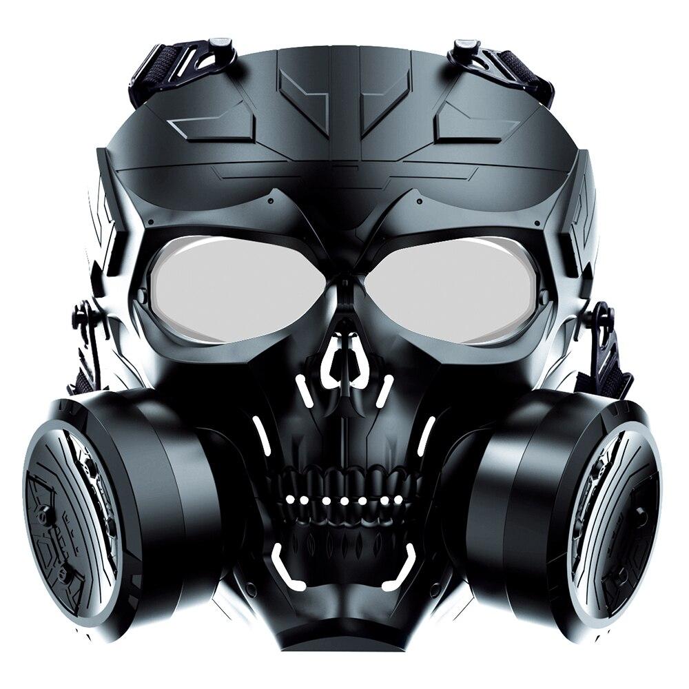 Airsoft maquinaria bioquímica dupla ventilador máscara tático lente do computador máscara protetora ao ar livre bb arma paintball tiro equipamento de caça