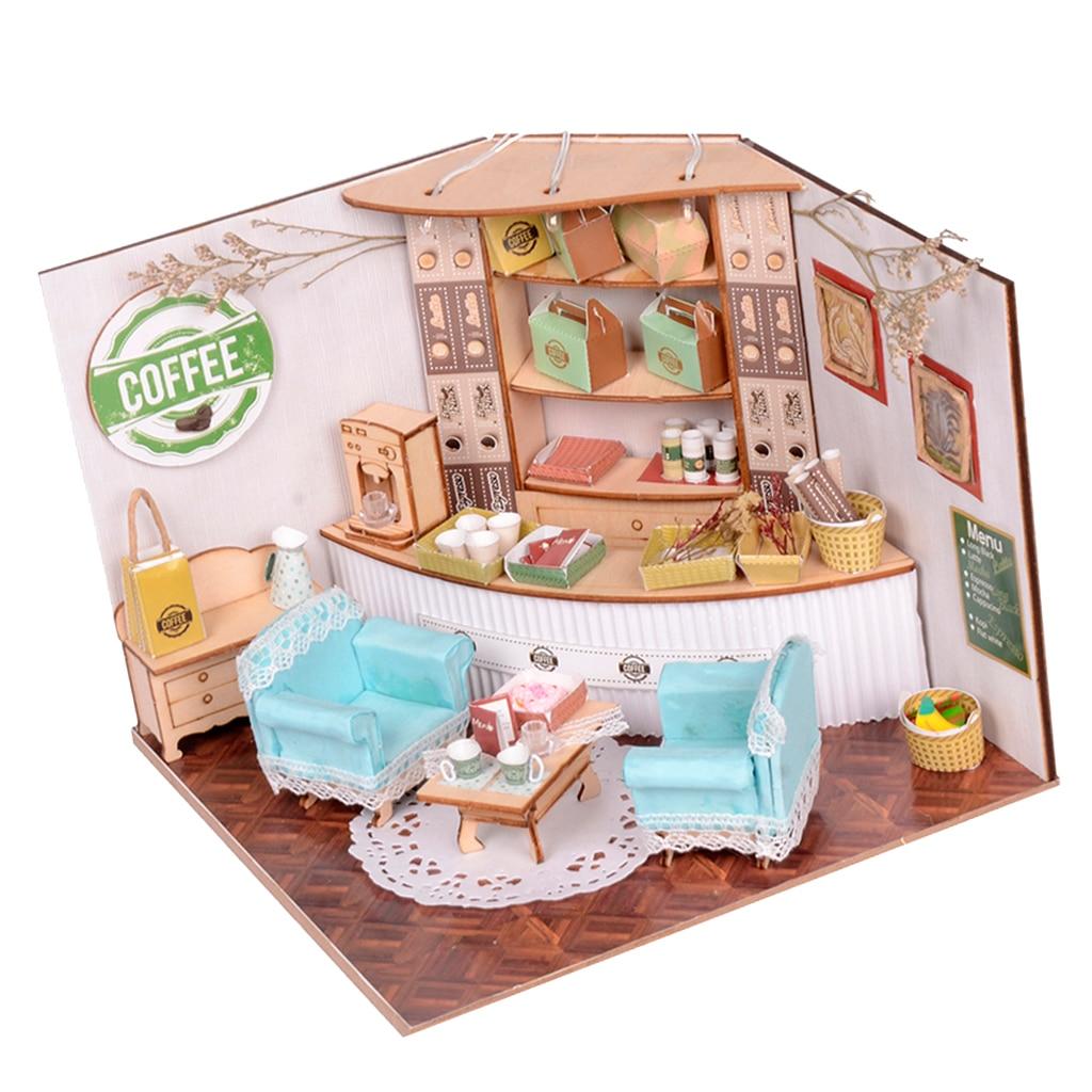 Muebles DIY para casa de muñecas en miniatura 124, 3D Diorama de madera, modelo romántico de cafetería