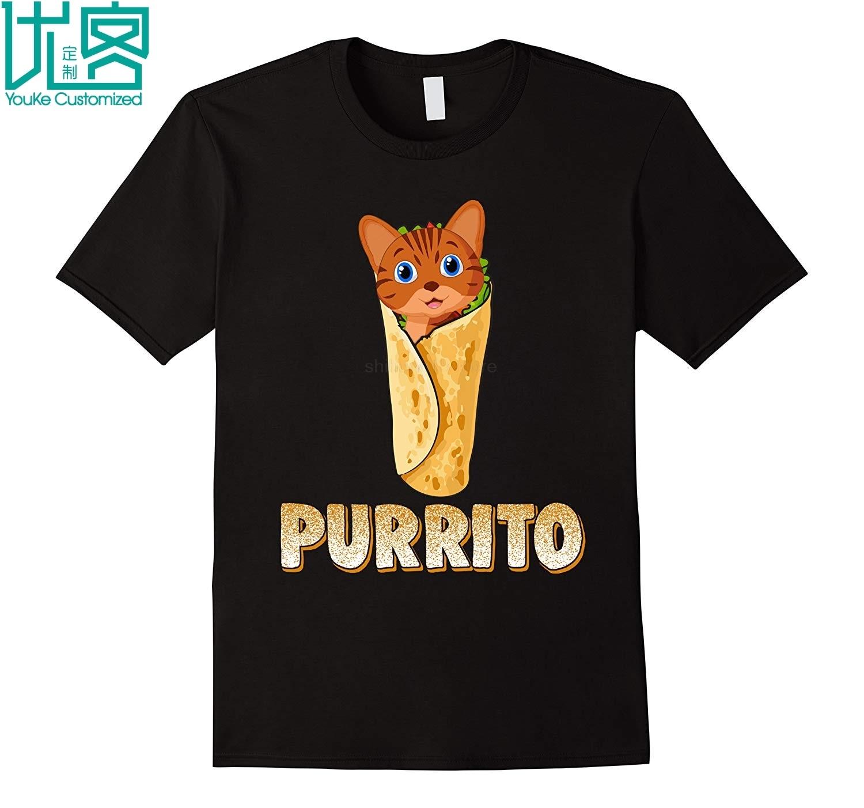 Camiseta divertida del gato del Purrito lindo del juego de palabras del gato Burrito para las camisetas de los niños 2019 Camiseta de manga corta de los hombres del verano
