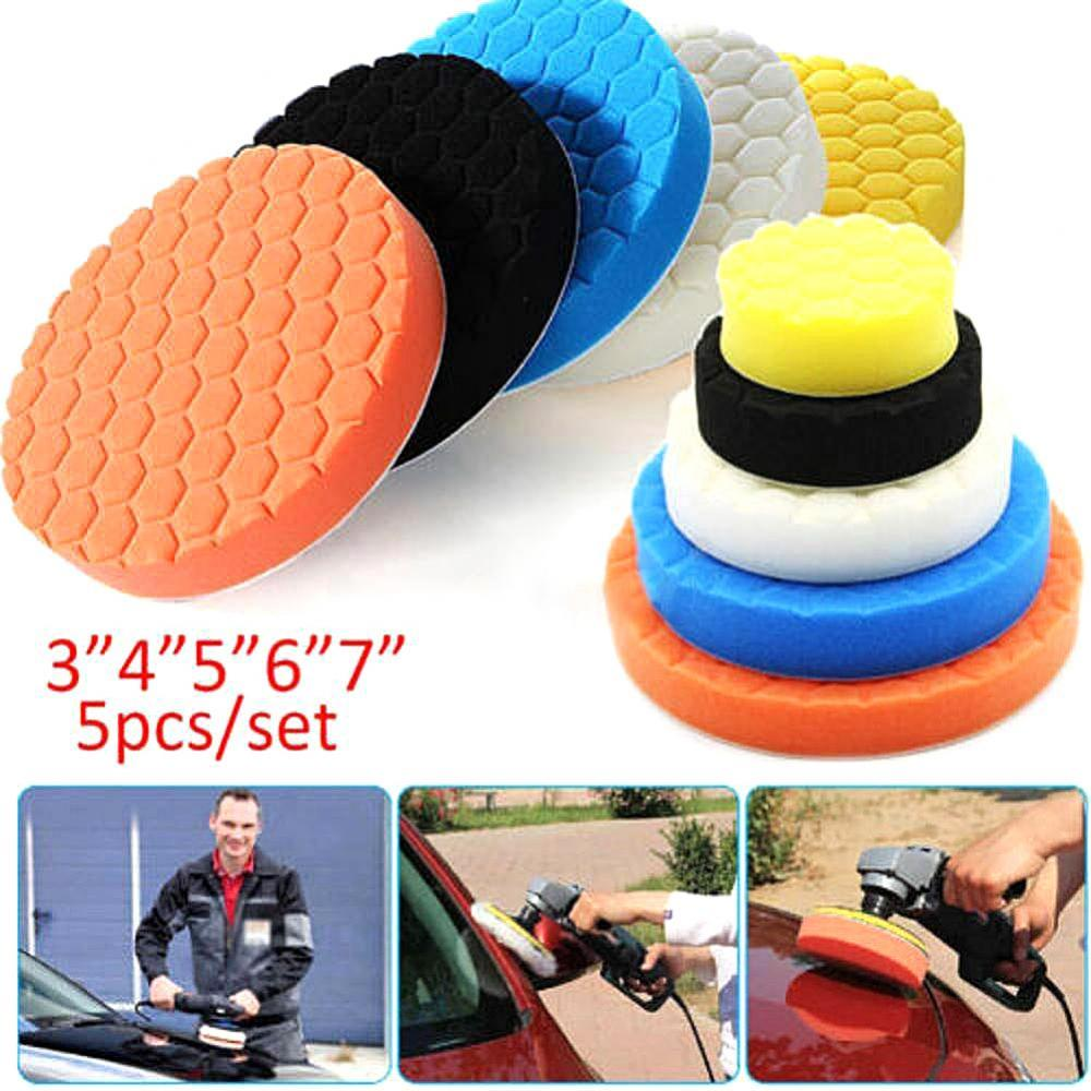 60%  Dropshipping!! 5Pcs 3/4/5/6/7inch Car Auto Body Care Round Sponge Buffing Polishing Waxing Pad