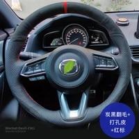 steering wheel cover for mazda cx4 atenza axela3 mazda 6 cx5 cx8 hand stitched leather grip cover auto parts car accessories