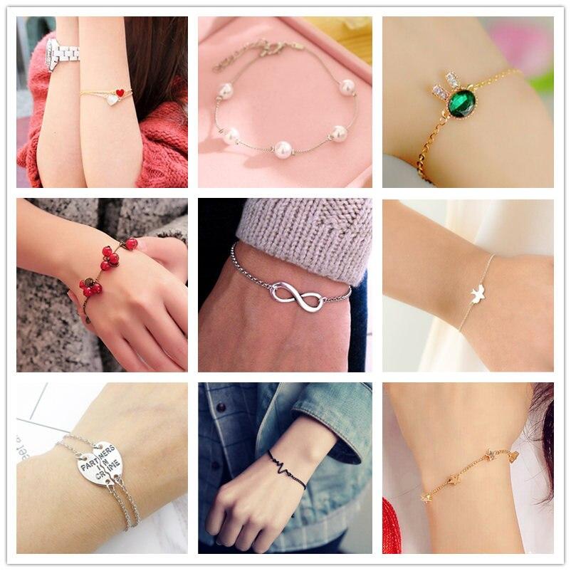 L091 Nueva joyería de moda perla colgante de cristal pulseras y brazaletes corazón estrella Shell pulseras para mujeres regalo Pulseira Feminina