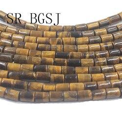 "O envio gratuito de 6x8mm coluna tubo forma pedra natural gemas genuíno amarelo tigre olho contas strand 15"""
