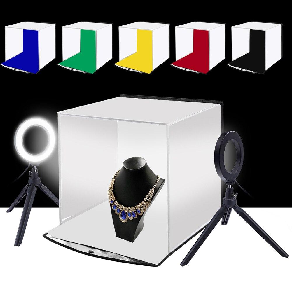 Puluz portátil softbox 30*30cm caixa de luz estúdio led photo lightbox & 6 cores backdrops para a fotografia de mesa caixa de iluminação led