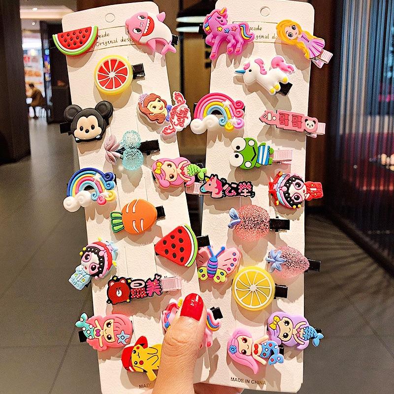 10pcs / Set New Girls Cute Cartoon Ice Cream Fruits Hairpins Children Sweet Barrettes Hair Clips Headband Headwear Fashion