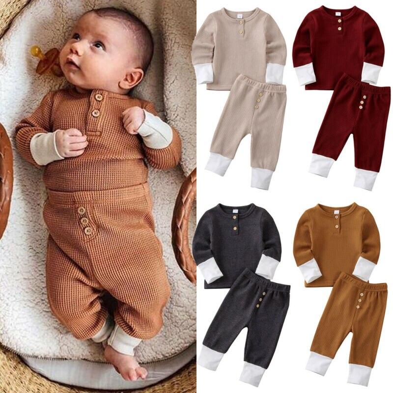 2 uds niño chico bebé niña niño invierno cálido Patchwork ropa de camiseta Top pantalones mallas conjuntos ropa linda 0-24M