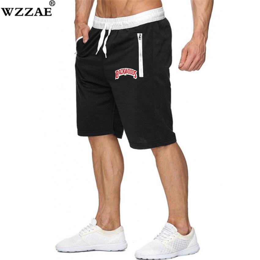 Novedad de verano, pantalones cortos informales para hombre con estampado de letras BACKWOODS, pantalones cortos deportivos para correr, costura con cremallera, pantalones cortos transpirables y cómodos para la playa