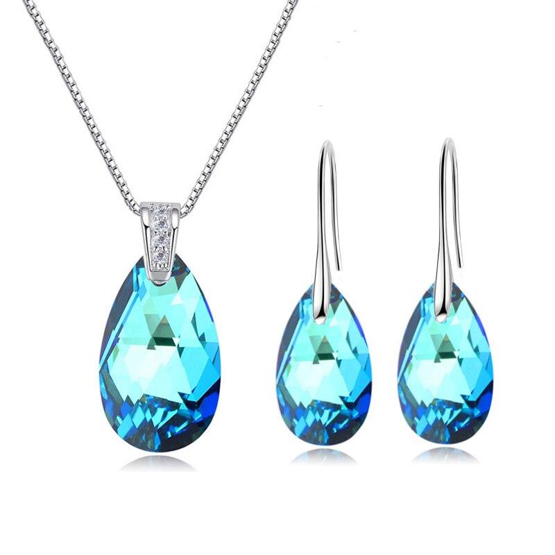 BAFFIN Echte Kristalle Von Swarovski Schmuck Sets Pear-Förmigen Anhänger Halskette Baumeln Ohrringe Für Frauen Hochzeit Silber Farbe
