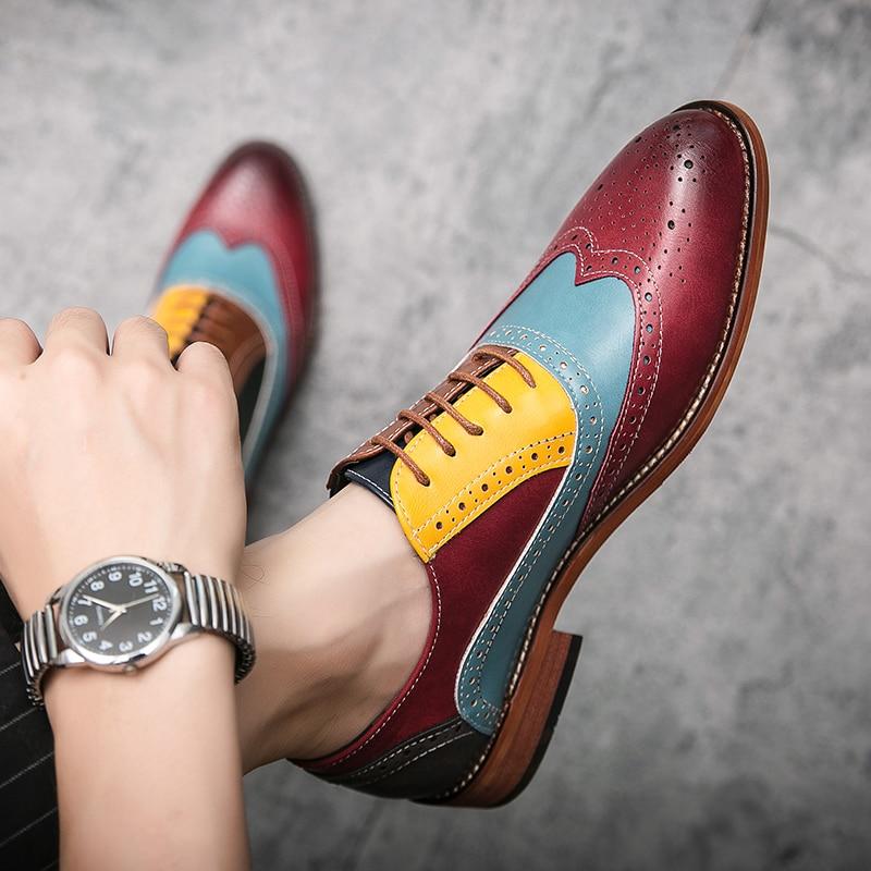 أحذية أوكسفورد الجلدية للرجال ، أحذية عمل ، ملونة ، بأربطة ، غير رسمية ، مسطحة ، لحفلات الزفاف ، مقاس كبير