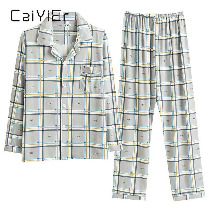 CAIYIER зимняя пижама с длинным рукавом для мужчин повседневная полосатая Женская Повседневная Верхняя одежда с эластичной талией для дома