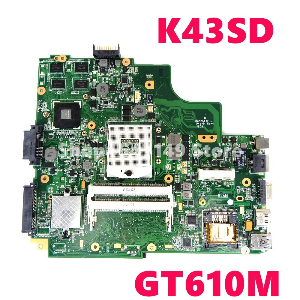 K43SD GT610M/1GB HM65 اللوحة REV 4.1 ل ASUS X43S A43S K43S K43SD P43S P43SD اللوحة المحمول 100% اختبار