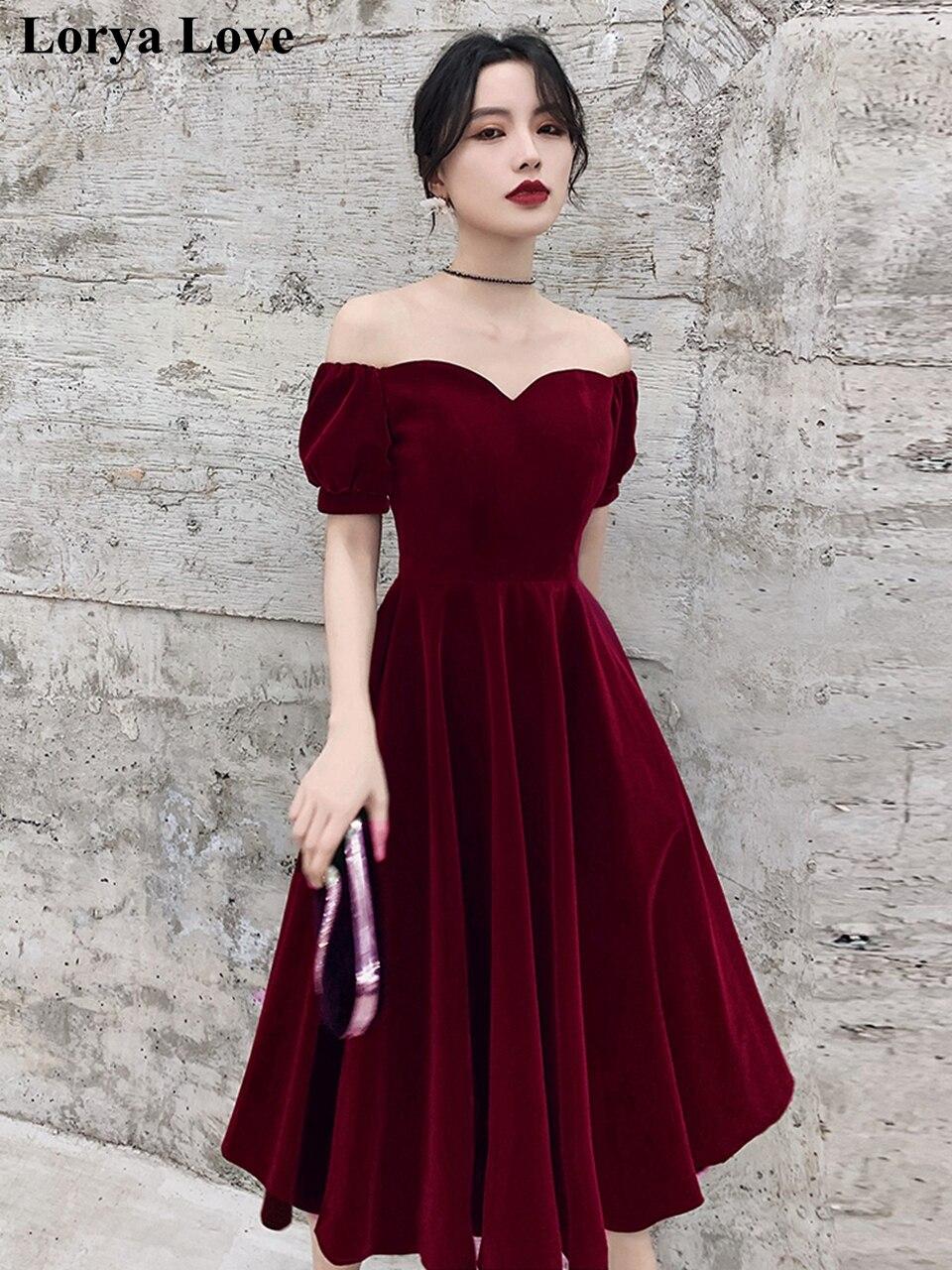 Короткие вечерние платья 2021, Женские официальные платья с открытыми плечами для выпускного вечера, велюровые платья, платья для торжества, ...