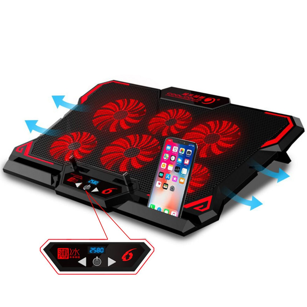 مبرد كمبيوتر محمول للألعاب ، لوحة تبريد للكمبيوتر المحمول ، 6 مراوح شاشة LED صامتة ، تدفق هواء قوي ، حامل كمبيوتر محمول قابل للتعديل ، مبرد هواء