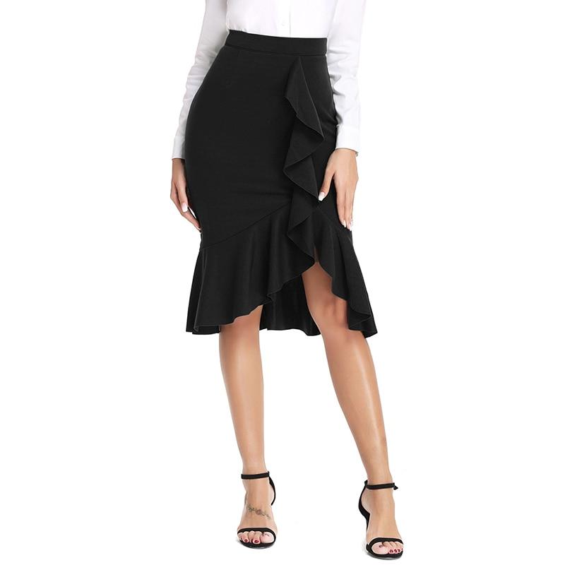 Summer Skirts Womens Solid Vintage Long Women's Casual High Waist Pleated Skirt faldas mujer moda 2020 El verano