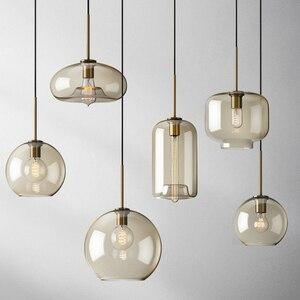 Modern Pendant Lamp Led Glass Ball Nordic Hanging Lighting Restaurant Kitchen Minimalist Bedroom Bedside Decor Creative Lights