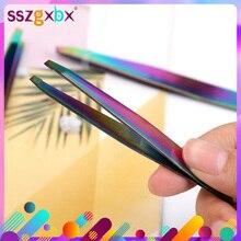 1PC couleur titane faux cils pince à épiler Angle sourcil acier inoxydable pince à épiler cosmétique beauté maquillage outil