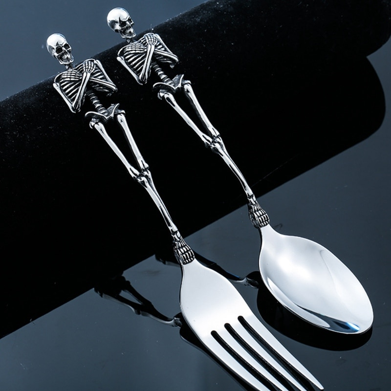 Juegos de vajilla de calavera cubertería cuchara de cena tenedor café postre cucharita vajilla juego de cubiertos