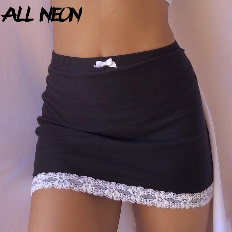 ALLNeon E-girl Sweet Bow Lace Trim Black Skirts Y2K Aesthetics Solid High Waist Bodycon Short Skirt Clubwear 90s Vintage Bottoms