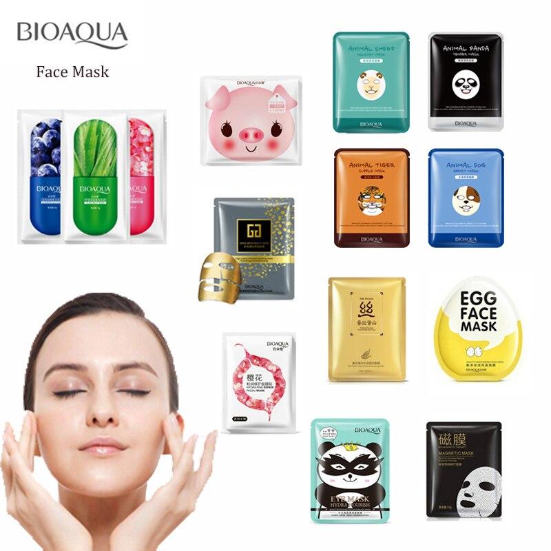 BIOAQUA Skin Care Facial Mask Plant Animal Moisturizing Oil Control Hydrating Nourishing Remover Blackhead Face Mask for Women