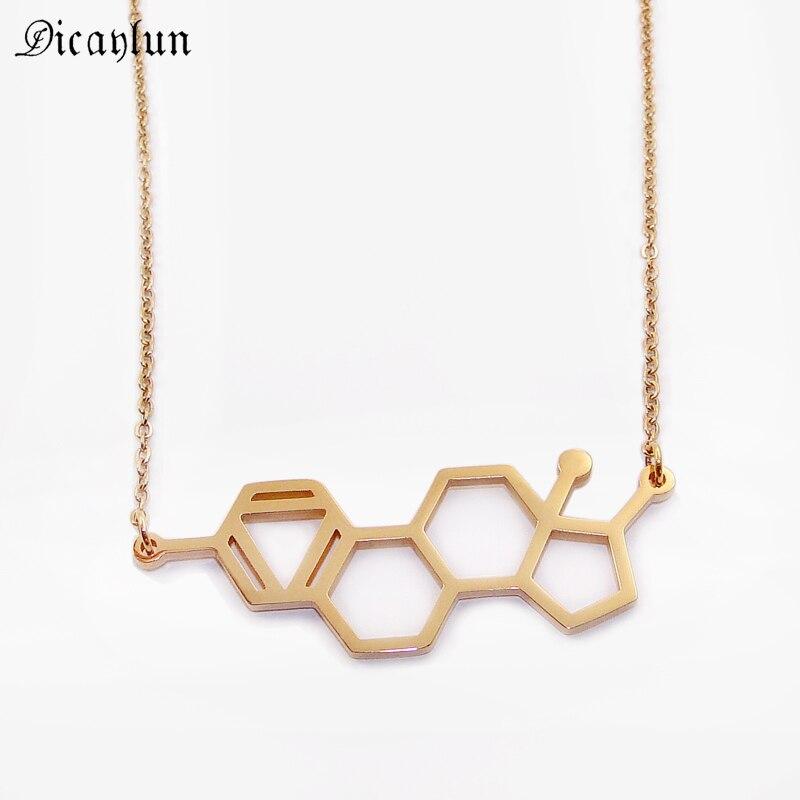 Estrogen Molecule Necklace Medical Jewelry For Women Nurse Stainless Steel Chemical Formula Pendant Gold Black Gift For Doctors