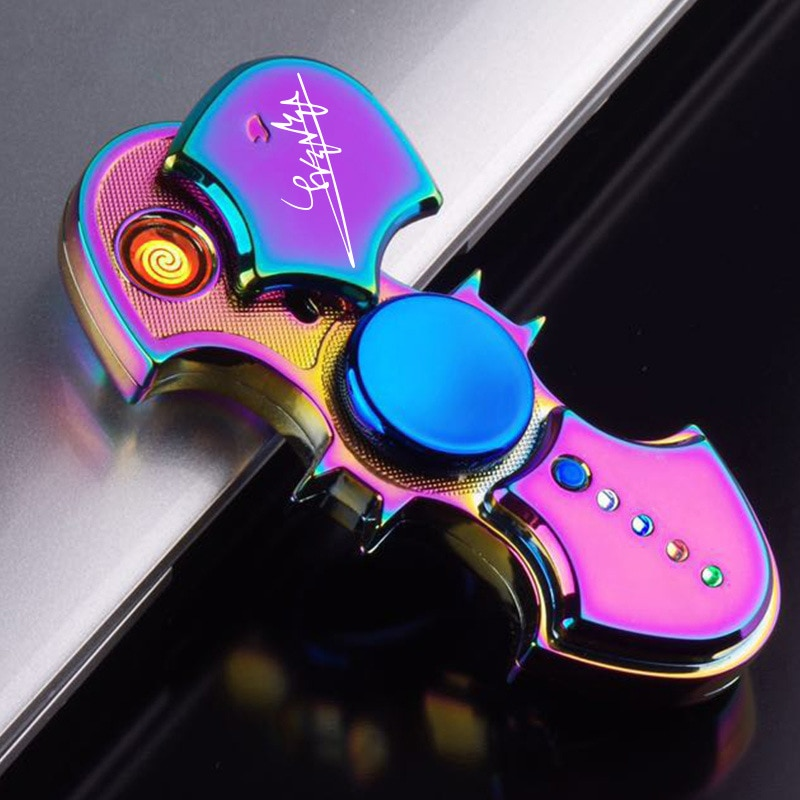 Inflatable Lighters Fingertip Gyro Glow In Dark Light Fidget Spinner Hand Top Spinners Stress Cigarette Accessories Men's Gift E