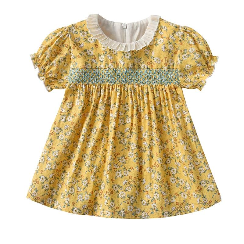 Paoke children's dress, baby girl dress, garden flower dress, 2021 summer new short sleeve retro Pri