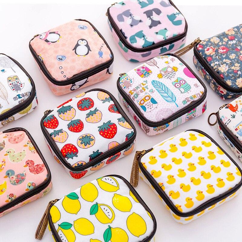 Vacclo, bolsa de almacenamiento para compresas sanitarias con estampado de dibujos de animales, con llaves y cremallera, organizador portátil para monedas y auriculares para tarjetas, bolsa de viaje