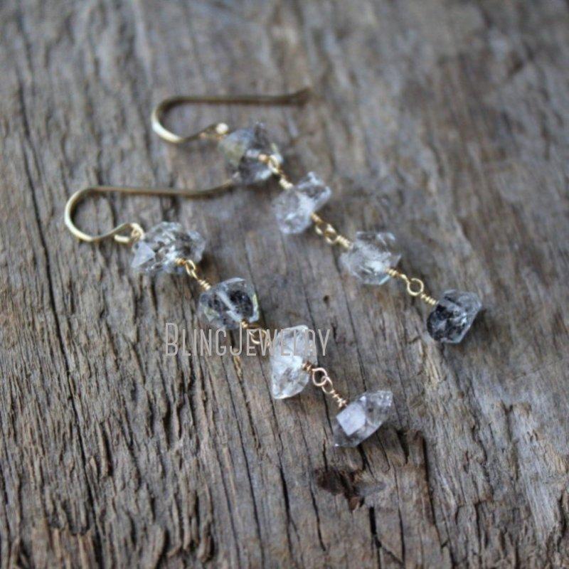 Herkimer أقراط الماس مزدوجة إنهاء نقطة الكوارتز استرخى خواتم أبريل جوهرة مجوهرات الزفاف ER40338