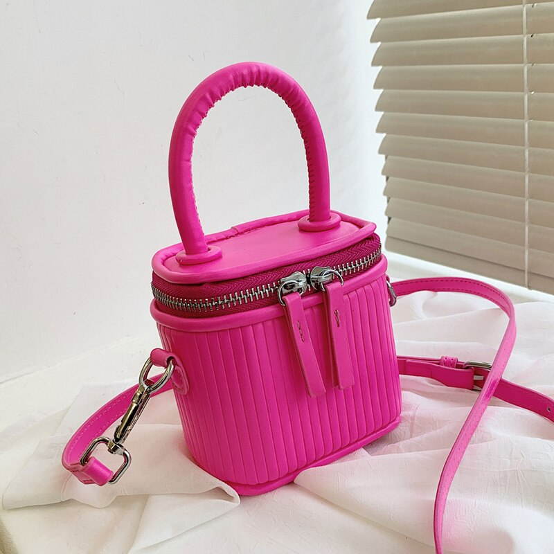 Luxury Mini Box PU Leather Crossbody Bag with Short Handle for Women 2021 Cute Phone Shoulder Handbag and Purses Pink Green