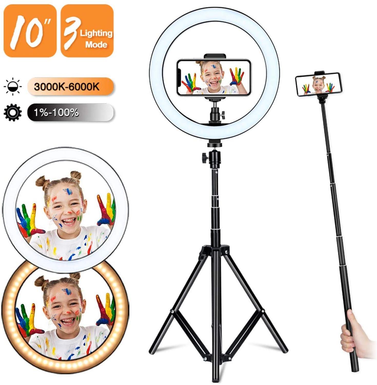 Anillo de luz zayex de 10 pulgadas para Selfie con soporte de trípode ajustable, lámpara de anillo LED para fotografía, maquillaje, vapor en vivo, Vlog, YouTube