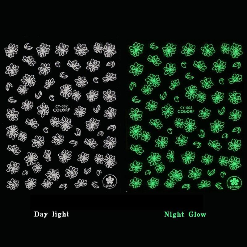 Glitter Luminous Effect 3D Leaf Flower Design Nail Art Shinning Glitter Nail Art Sticker Decoration Manicures Tips Summer Hallow
