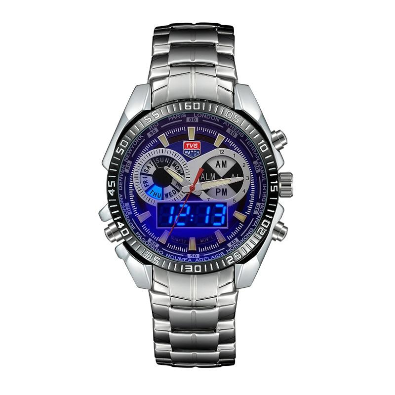 Relojes deportivos para hombre, relojes con pantalla Dual para hombres, relojes digitales LED militares, reloj masculino de acero inoxidable TVG KM568