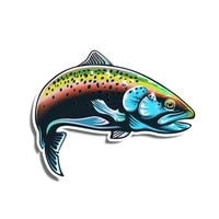 funny rainbow trout fish fishing car sticker automobiles motorcycles exterior accessories vinyl decals