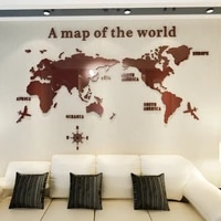 world map 3d acrylic wall stickers crystal mirror stickers for office sofa tv background wall decorative stickers blue gray