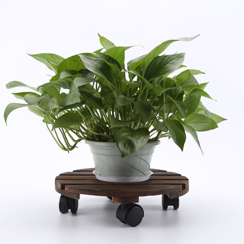 Plant Shelf Balcony Living Room Floor-Mounted Wooden Flower Stand With Pulley Round Wooden Pot Rack недорого